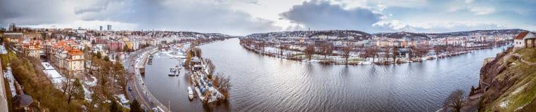 Panorama Vltave River, Prague, Czech Republic Stock Photo