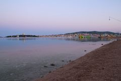 Panorama of Vodice. Morning panorama of Vodice. City of fan and party royalty free stock photos