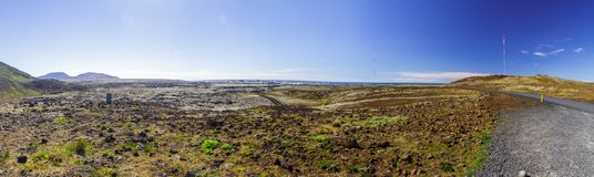 Panorama of the volcanic field and the road in Iceland stock photography