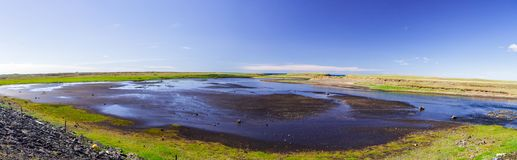 Panorama of the volcanic lake in Iceland stock images