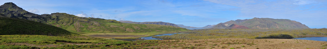 Panorama of a volcanic landscapee of Iceland Stock Photo