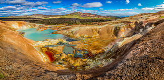 Panorama of volcanic mountain full of colorful minerals in Iceland Stock Image