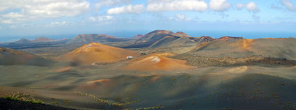 Panorama of volcanic park Timanfaya on Lanzarote Royalty Free Stock Photo