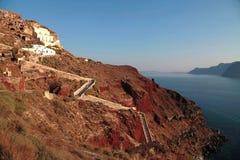 Panorama volcanique de Santorini avec des étapes Images stock