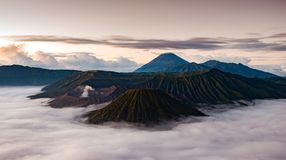 Panorama of the volcano Bromo viewpoint in the morning, Indonesi royalty free stock images