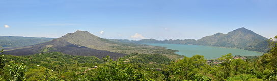 Panorama of a Volcano and lake Batur in Bali Stock Photography