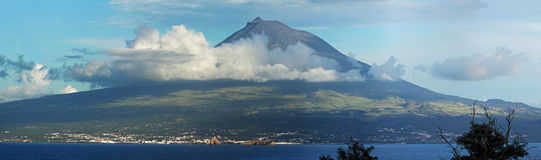 Panorama of Volcano Pico, Azores Royalty Free Stock Photography
