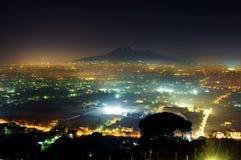 Panorama of volcano Vesuvio in the night. Panorama of volcano Vesuvio and Pompei in the night Royalty Free Stock Photos