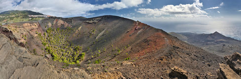 Panorama of volcanos at south coast of La Palma, Canary Islands Stock Images