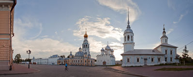 Panorama of the Vologda Kremlin. And square with St. Sophia Cathedral, bell-tower and church of Alexandr Nevsky, Russia Royalty Free Stock Photo