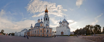 Panorama of the Vologda Kremlin. And square with St. Sophia Cathedral and bell-tower, Russia Stock Photos