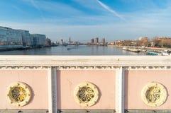 Panorama von Albert Bridge, London Großbritannien Stockbilder