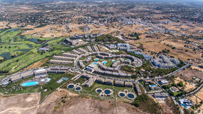Panorama von Albufeira-Antenne in Algarve-Region, Portugal, Salgados-Hotel Lizenzfreies Stockfoto