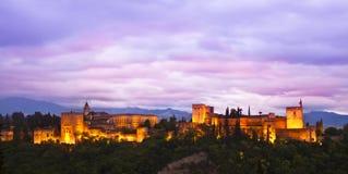 Panorama von Alhambra, Granada, Spanien Lizenzfreies Stockfoto