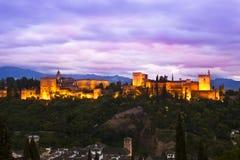 Panorama von Alhambra, Granada, Spanien Stockbild