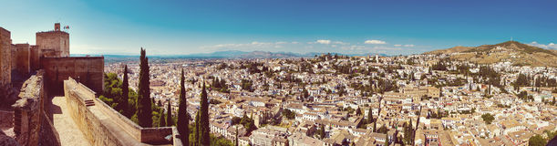 Panorama von Alhambra, Granada, Spanien Stockfotos
