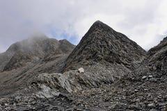 Panorama von Alpen: Berge und Flüsse Stockfotografie