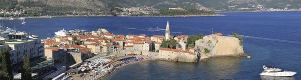 Panorama von altem Budva stockbild