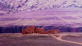Panorama von Amojjar-Durchlauf und Ruinen von Saganne-Fort, Adrar Mauretanien Stockfotografie