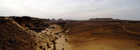Panorama von Amojjar-Durchlauf und Ruinen von Saganne-Fort, Adrar, Mauretanien Stockfoto