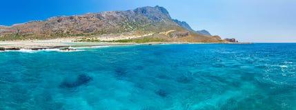 Panorama von Balos-Strand. Ansicht von Gramvousa-Insel, Kreta im Greece.Magical-Türkiswasser, Lagunen, Strände Lizenzfreies Stockbild