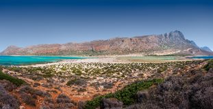 Panorama von Balos-Strand, Kreta, Griechenland lizenzfreies stockbild
