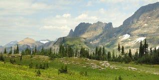 Panorama von Bergen bei Logan Pass Glacier National Park Lizenzfreie Stockfotos