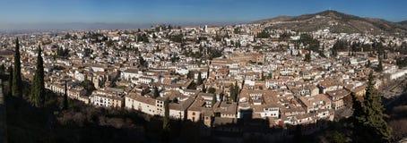 Panorama von Bezirk EL Albayzin in Granada, Andalusien, Spanien Stockbilder