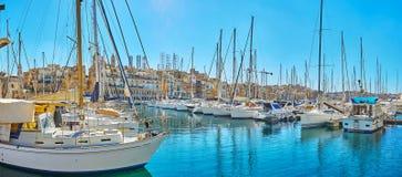Panorama von Birgu-Jachthafen, Malta lizenzfreies stockfoto