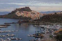 Panorama von Bosa-Stadt im Herbst in Sardinien Lizenzfreie Stockfotos
