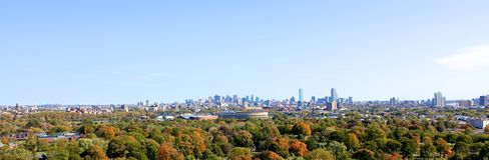 Panorama von Cambridge mit Boston im Abstand stockbild