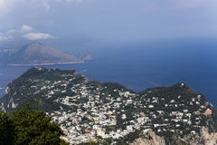 Panorama von Capri-Insel von Monte Solaro, in Anacapri Lizenzfreie Stockfotografie