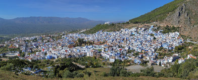 Panorama von Chefchaouen, Marokko Stockbild