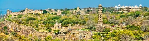 Panorama von Chittor-Fort, eine UNESCO-Welterbestätte in Rajasthan, Indien lizenzfreie stockfotografie
