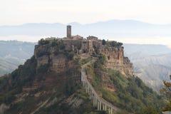 Panorama von Civita di Bagnoregio am Morgen Stockbilder