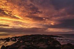 Panorama von Dämmerung an der Portfee, Victoria, große Ozean Straße Australiens, Victoria, Australien stockfotografie