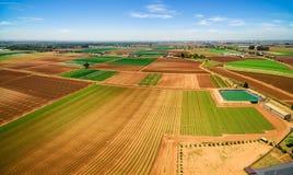 Panorama von den landwirtschaftlichen Feldern - gepflogen und mit Ernten lizenzfreies stockbild