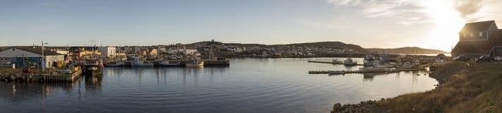 Panorama von Fischerbooten und Fischer in Bonavista beherbergten, Ne Lizenzfreies Stockfoto