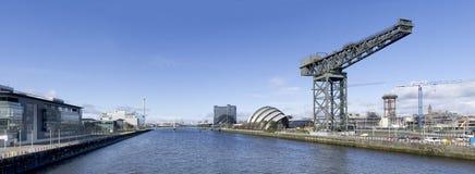Panorama von Fluss Clyde in Glasgow Lizenzfreie Stockbilder