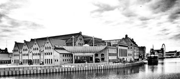 Panorama von Gdansk Künstlerischer Blick in Schwarzweiss Lizenzfreies Stockbild