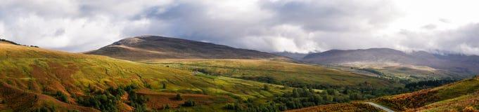 Panorama von Glen Roy in den Hochländern von Schottland stockbilder