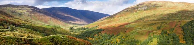 Panorama von Glen Roy in den Hochländern von Schottland lizenzfreies stockfoto
