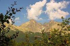 Panorama von grünen hohen tatra beskids Bergen mit See und Wasserfällen stockfotos