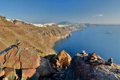 Panorama von Imerovigli Santorini, die Kykladen-Inseln Griechenland Lizenzfreies Stockfoto