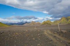 Panorama von isländischen Bergen Stockfotos
