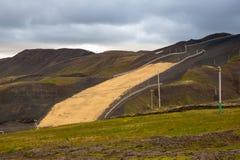 Panorama von isländischen Bergen Lizenzfreie Stockfotos