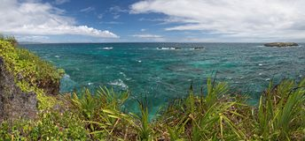 Panorama von kleiner Insel Crystal Coves nahe Boracay-Insel in lizenzfreie stockfotos