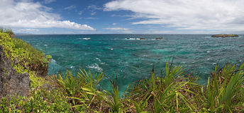 Panorama von kleiner Insel Crystal Coves nahe Boracay-Insel stockfoto