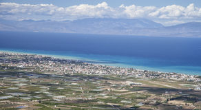 Panorama von Korinth-Bereich in Griechenland Stockfotos