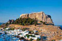 Panorama von Lindos. Rhodos, Griechenland. lizenzfreie stockfotografie